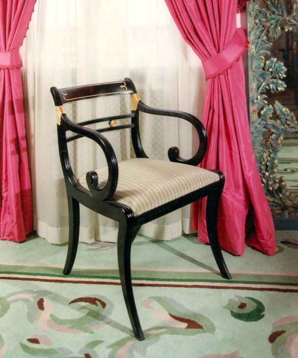 Black Lacquer Carver Chair for The Messel Suite at The Dorchester