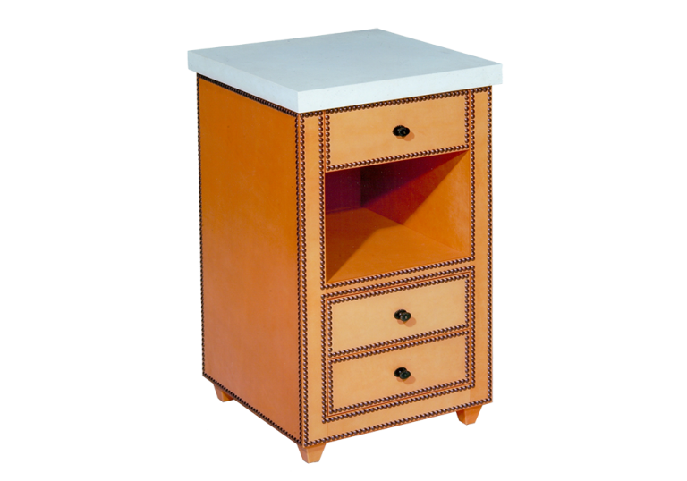Leather & Close Nailed Bedside Table for Cullman & Kravis