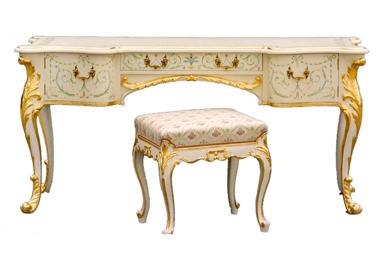 Painted Cabriole Dressing Table and Stool