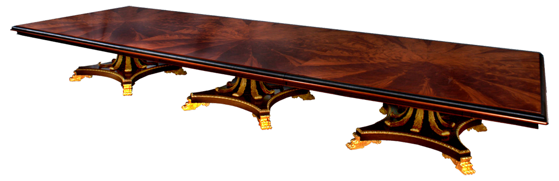 An Gilt Fronds Mahogany table created for Interior Designer Alidad
