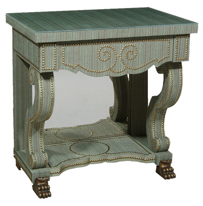 Green Velvet Bedside Table for Alidad