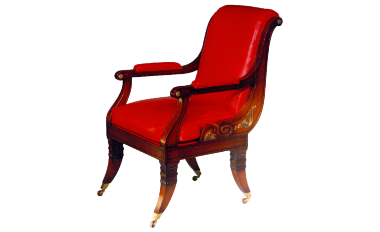 Red Leather Library Chair for David Hicks